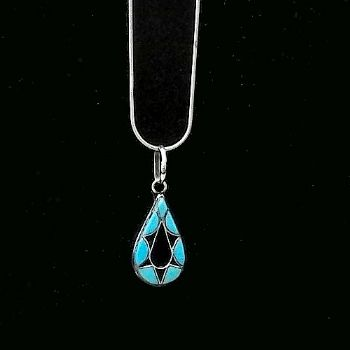 Traditional Zuni Pendant with Turquoise & Jet